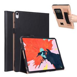 Handschlaufe tablette abdeckung online-Luxus Business Flip Book PU-Hülle mit Ständer für iPad Pro 12,9 Zoll 2018 Tablet mit Handschlaufe + Kartensteckplätze