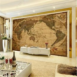 2019 paredes cubiertas de madera Mural personalizado 3D Wallpaper Retro Madera Grano HD World Map Wallpaper 3d en la pared Decoración del hogar Sala de estar Revestimiento de paredes paredes cubiertas de madera baratos