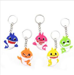 Autos zeug spielzeug online-Baby Shark Hanging Keychain Silikon PVC Pinkfong Schlüsselanhänger Anhänger Cartoon PlushStuffed Dolls Spielzeugauto Bag Decor Keyrings Großhandel B7502