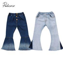 lunghi jeans larghi gambe Sconti 2018 Brand New Toddler Infant Bambino Bambini Neonate Denim Bell-Bottom Pantaloni lunghi Hit Colore Jeans gamba larga Pantaloni 2-7T