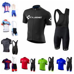 Vêtement vélo jersey en Ligne-2019 Aqua Blue CUBE vélo vêtements de vélo vélo Vêtements Homme chemise à manches courtes Bib Shorts Set vélo vêtements sport maillot K040202