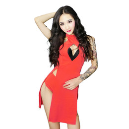 pole wear costumes Promo Codes - Sexy Dance Costume Women Dj Ds Rave Clothes Red Pole Dance Performance Clothing Gogo Stage Wear Nightclub Dancing Dress DC2017