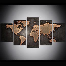 piece weltkartenwanddekor Rabatt 5 Stück Große Größe Leinwand Wandkunst Alte Weltkarte Ölgemälde Wandkunst Bilder für Wohnzimmer Gemälde Wanddekor