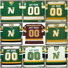 Vintage minnesota trikots online-Minnesota-Nordsterne Jersey besonders angefertigt mit irgendeinem Namenszahl Vintagen Hockey Jerseys personifizierten Cusddtom allen genähten Mischungs-Auftrag