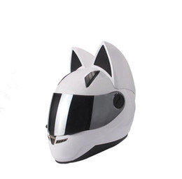Casco bianco pieno del casco del motociclo online-NITRINOS motorcycle helmet full face with cat ears black white pink yellow multi-color fashion