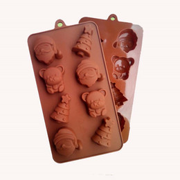 bear shaped chocolate Promo Codes - High quality Food Grade Silicone Material,Christmas Tree, Santa Claus, Little Bear Shape For Chocolate Handmade Mold, Cake Tools