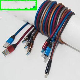 conectores de imersão Desconto Tipo c cabo de couro usb liga de alumínio od 4.0 mais grosso micro usb cabo do carregador rápido para samsung android phone 7
