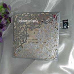 Canada 2019 Argent Prune Spectaculaire Paillettes Laser Cut Fold Invitation Cartes pour la Fiançailles De Mariage Graduation Anniversaire Livraison Gratuite Offre
