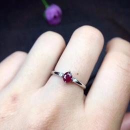 bijoux de pierres précieuses rubis Promotion Uloveido Natural Ruby Ring pour le mariage, argent Sterling 925, 4 * 5mm certifié bijoux de fiançailles ovales pierres précieuses pour femmes FJ208