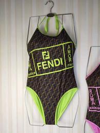 Populares trajes de baño de una pieza online-Popular FF Carta traje de baño Sexy Beach Wear mujeres de una sola pieza 2 colores Carta impresa traje de baño envío gratis