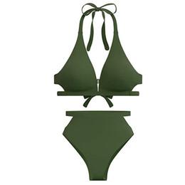 Maillot de bain à la taille haute en Ligne-Maillot de bain mode femme 2019 sexy Femmes Maillots de bain taille haute Bikini Taille haute découpe fond col V Top Bikini push up maillot de bain 12