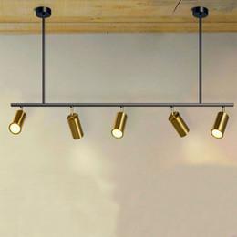 ombra di pendente rossa Sconti Faretti a LED rotanti nordici 5/7 Teste Lampade a LED Sospensioni Per negozio di abbigliamento per show room Gold corridor track Art villa G822