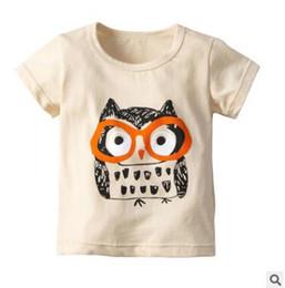 2019 animais bebê camiseta Crianças Meninos Meninas Dos Desenhos Animados Animal Coruja Tops Camisetas 2019 Verão de Manga Curta de Algodão T-shirt Tops Camiseta Crianças Roupas Tops roupas de Bebê animais bebê camiseta barato