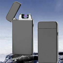 Isqueiro mais fino on-line-Arco Duplo Isqueiro À Prova de Vento Ultra-fino de Pulso de Metal USB Recarregável Eletrônico Isqueiro Fumar Elétrico 15 cores