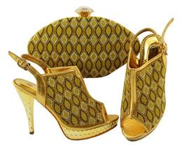 Canada La plupart des pompes jaunes populaires avec des chaussures africaines de style réseau en strass correspondent à un sac à main pour la robe JZC003, talon 12CM supplier matching shoes handbags sets Offre