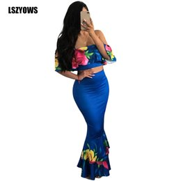 6714f0795a06 Women Two Piece Outfits Summer Floral Print Ruffle Off Shoulder Crop Top +  Mermaid Long Skirt 2 Pieces Set Sexy Maxi Party Dress