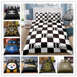 Moda Logo Baskı Yatak yastık ile set set tek çift kraliçe kral 2/3 adet nereden tek kişilik yatak takımları tedarikçiler