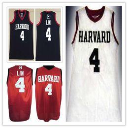 Misura di jersey di pallacanestro 4xl online-custom made # 4 JEREMY LIN Harvard University College uomo donna pullover da basket giovanile taglia S-5XL qualsiasi nome numero maglia sportiva