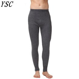 Вязать сексуальные брюки онлайн-YUNSHUCLOSET New style Men 's Cashmere Wool Warm Pants Knitted Long Johns Spandex Tights trousers Underwear Sexy Free Shipping