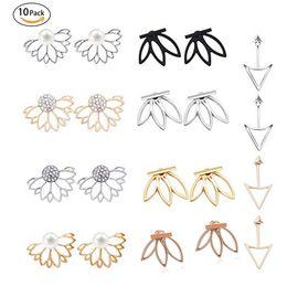 chaquetas Rebajas 10 pares de aretes de aretes de flores de loto para mujeres y niñas, joyas simples y elegantes
