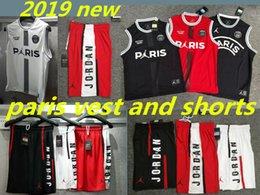Pantalones cortos de baloncesto de jersey negro online-2018 2019 PSG MJ Camisetas sin mangas y pantalones cortos rojo Michael Paris Chaleco de malla de tela de malla densa AU de baloncesto negro y blanco