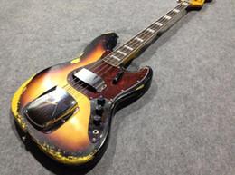 cuerdas de guitarra hechas a mano Rebajas Alta calidad 100% hecho a mano basswood cuerpo 4 cuerdas sunburst bajo vintage estilo antiguo F 1959 relic Jazz bajo guitarra 17-11