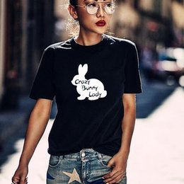 lapin fou Promotion Crazy Bunny Lady coton t-shirt pour propriétaire de l'animal Tee lapin maman cadeau petite amie cadeau chemise graphique T-shirts hipster Tumblr tops drop ship