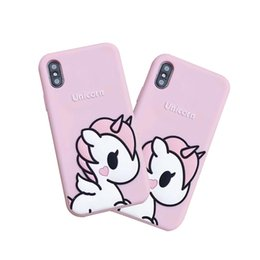 Женские телефоны чехлы онлайн-Телефон случае розовая девушка для iPhone 6 7 8 плюс Единорог телефон случае iPhone X мягкая девушка телефон случае