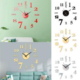 Reloj de pared de la nave online-Reloj de pared del reloj grande moderna simple de la etiqueta engomada DIY 3D número romano casera que envía libremente Kit