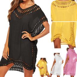 bikini jaune boho Promotion Nouveau 2019 Kaftan Tunique Plage Dress Femmes Bikini Maillot De Bain Ups D'été Maillot De Bain Cover Up Boho Blanc Jaune Robes Paréole Cover-ups J190618
