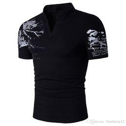 2019 camisas delgadas para hombre de cuello alto Mens del nuevo verano de gran tamaño camiseta collar del soporte de impresión de camisetas de manga corta delgado para hombres rebajas camisas delgadas para hombre de cuello alto