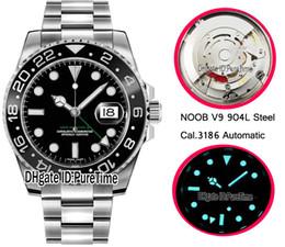 Лучшие черные наручные часы онлайн-Лучшая редакция N V9 904L Сталь Cal.3186 Автоматическая GMT II Черная керамическая рамка 116710 LN Черные циферблаты Мужские часы Правильный ручной стек Puretime