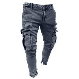 hombres con cremallera larga jeans Rebajas Moda causal bolsillo con cremallera del ajustado destrozado de Denim Jeans Pantalones largos de 2020Men compresión polainas de los hombres de elástico y transpirable