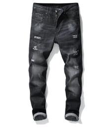 italienische herren jeans Rabatt Italienische Luxus-BRIEFMARKIERUNG Gestickte Jeans 2019 Neue Designer-Männer-Jeans Slim Fit Mens Printed Jeans