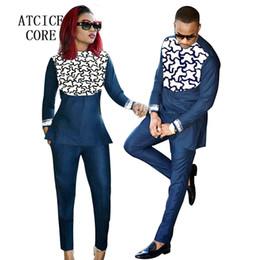 Ricami abiti africani online-abbigliamento africano per uomo e donna disegno ricamo ricamato bazin africano Coppia indossare abiti LC088-1