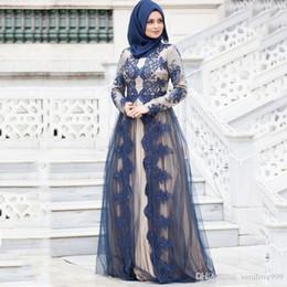 Vestidos de noche de las mujeres musulmanas modernas online-Encaje moderno Mangas largas Hasta el suelo Vestidos de noche musulmanes 2019 Mujeres Vestidos formales Cuello joya Vestidos de fiesta de estilo árabe saudita