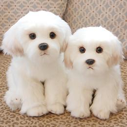 Cachorros brancos on-line-28 cm Bonito Branco Bichon Frise Stuffed Dog Brinquedo de Pelúcia Simulação Pet Fofo Bebê Crianças Boneca de Presente de Aniversário para Crianças Foto Prop