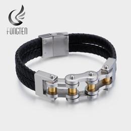 Braceletes de couro do punho do motociclista on-line-Cadeia Fongten motociclista de couro trançado Cuff Bracelet Men preto de aço inoxidável ouro prata, tecidos Pulseiras Bangles For Men Jóias
