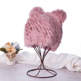 6ba42172b8d Top Quality Rex Rabbit Fur Beanie Hat Girls Cute Panda Ear Snow Cap Women  Winter Ski Solid Color Beanie Hats
