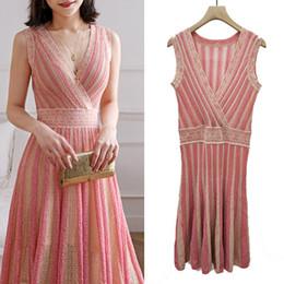 Linee verticali abiti online-2019 Summer New Female Hit Color Vertical Stripes Gold Line Flash Silk V-neck Waist Long Cross-knit Dress