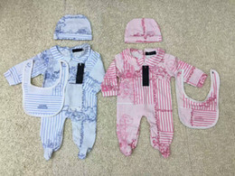 Babero online-lujoso mono recién nacido bebé niñas niño ropa gorra Romper Bib traje de algodón bebé ropa canastilla Set NUEVO