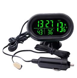 2019 auto uhr thermometer spannung Digital Monitor Auto Voltmeter Thermometer Blau / Grün Elektronische Uhr Temperatur Spannung Tester rabatt auto uhr thermometer spannung