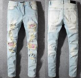 bandera americana hombres capris Rebajas Crime bad men jeans skinny jeans marca motociclista riders denim diseñador de moda hip hop jeans para hombre la calidad es muy buena # 002