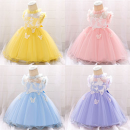 butterfly tubes Coupons - Baby Girl Formal Dress Tube Top Gauze Butterfly Embroidered Sleeveless Baby Full Moon Dresses Girls Dresses 4-24M 07