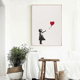 figure girl oil painting Promo Codes - Banksy Girl With Balloon Wall Art Canvas Poster And Print Canvas Painting Decorative Picture For Office Living Room Home Decor
