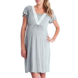 b54aeeb1f6aa Summer Womens Mother Dress 2018 Lace Pregnants Casual nursing baby per  maternità pigiama vestito di colore solido confortevole comodi abiti estivi  donne ...