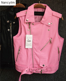 Deutschland Herbst Frauen Lederweste Ärmellose Jacken Frauen Kurze Reißverschluss Pu Ledermantel Mädchen Damen Rosa Mäntel cheap ladies pink sleeveless jacket Versorgung