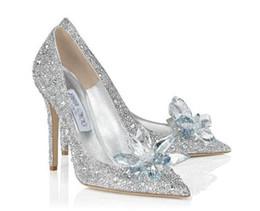 2019 мода на высоких каблуках свадьба белые туфли Золушка сексуальные дамы кристалл платформы серебряный блеск алмазов невесты туфли на высоких каблуках партии от Поставщики белые туфли для невест