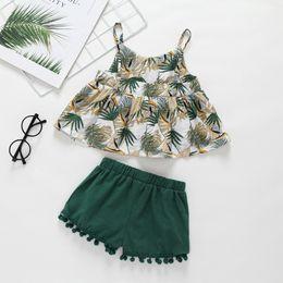 Canada Vêtements fille pour bébé Vêtements d'été Ensembles de deux pièces Green Leaf Shirt + ensembles de vêtements courts 100% coton fille Lolita ensembles de vêtements cheap leaf clothes Offre