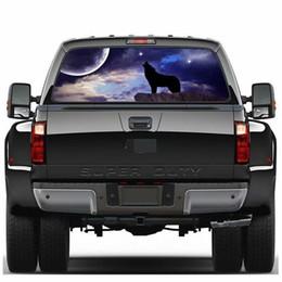 Decalques de vidro traseiro on-line-Céu noturno lobo Janela Traseira Pickup Truck Janela Traseira Decalque SUV Vidro Do Carro Anti-Feixe de Alta Adesivo